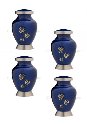 Pack Of Four Royal Blue Flowers of Peace Small Keepsake Urn for Funeral Human Ashes