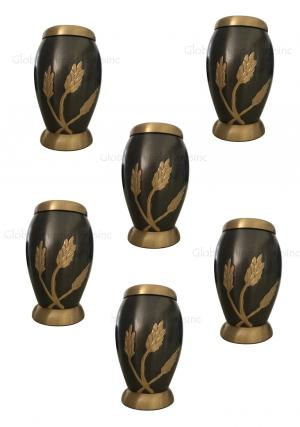 Pack Of Six Flat Top Monarch Wheat Keepsake Urn for Human Memorial Ashes