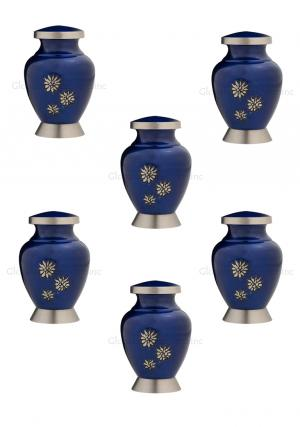 Pack Of Six Royal Blue Flowers of Peace Small Keepsake Urn for Funeral Human Ashes