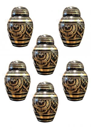 Pack Of Six Small Black Polished Classic Brass Keepsake Urn