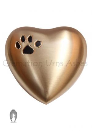 Paw Print Golden Mini Heart Keepsake Memorial Urn