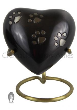 Pewter Dog/Cat Cremation Black Keepsake Heart Urn for Ashes
