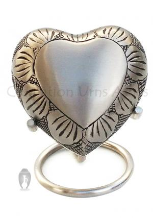 Pewter Leaf Band Heart Small Keepsake Urn/Container for Funeral Ashes