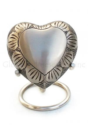 Mini Heart Keepsake Memorial Urns for Ashes, Pewter Leaf Band Small Keepsake Funeral Urn with Stand