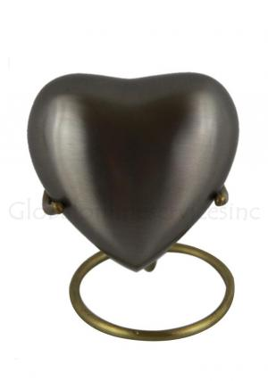 Pewter Pet Gray Heart Keepsake Small Urn for Funeral Ashes