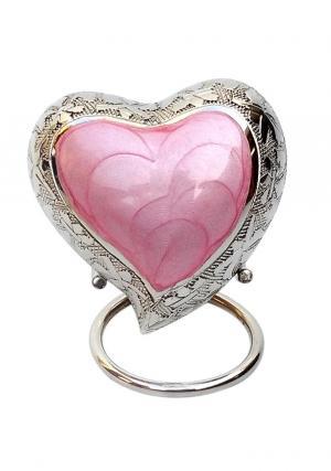 Pink Inner Heart Keepsake Urn for Funeral Ashes
