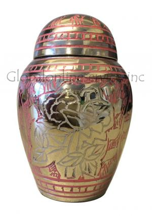 Pink Rose Engraved Nickel Small Keepsake Urn for Funeral Ashes
