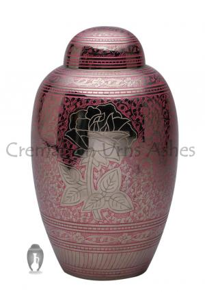 Pink Rose Floral Engraving Large Adult Cremation Urn for Ashes, Big Urns