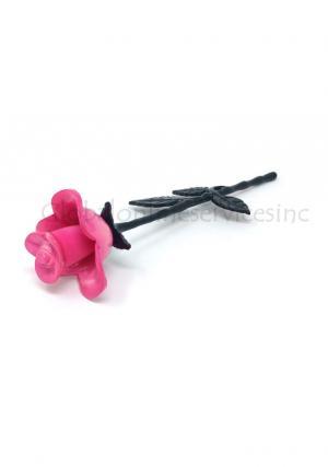 Pink Stem Rose Brass Keepsake Urn for Small Ashes