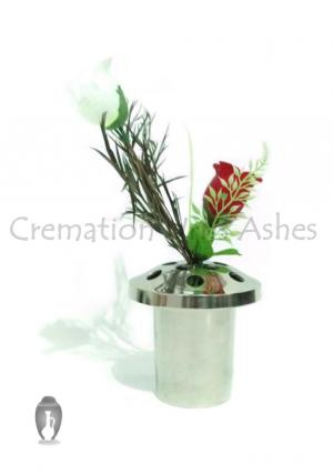 Polished Aluminium Grave Vases as a Memorial Flower Holder 14 Cm Tall