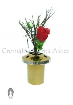 Polished Brass Aluminium Grave Vase Pot for Memorial Flowers