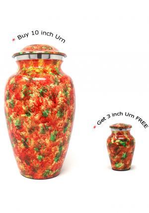Polychromatic Large Aluminium Cremation Urns for Ashes + FREE Small Aluminium Keepsake Urn (Large)