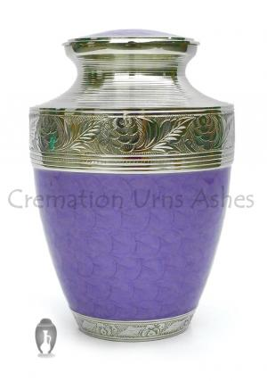 Purple Brass Urn, Hand Engraved Nickel Finish Large Urn for Memorial Ashes