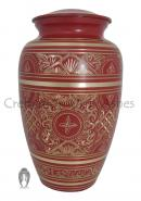 Red & Silver Detailed Decorative Human Adult Urn Ashes