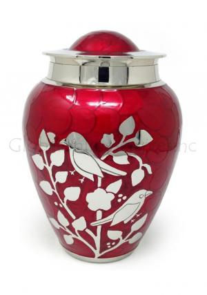 Red blessing birds large adult ashes cremation urn