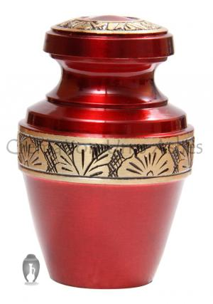 Rich Ruby Red Brass Flower Engraving Small Keepsake Funeral Urn for Ashes