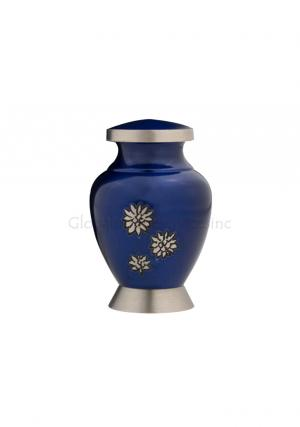 Royal Blue Flowers of Peace Small Keepsake Urn for Funeral Human Ashes