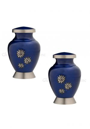 Pack Of Two Royal Blue Flowers of Peace Small Keepsake Urn for Funeral Human Ashes