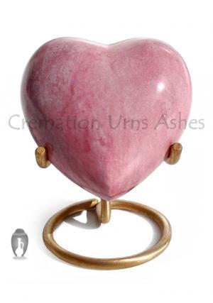 Saturn Pink Heart Keepsake Urn, Brass Memorial Urn for Ashes