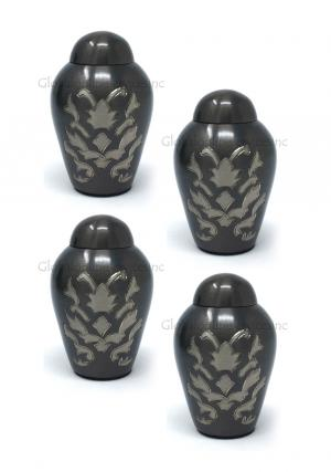Pack Of Four Dome Top Windsor Floral Keepsake Small Cremation Urn for Human Ashes