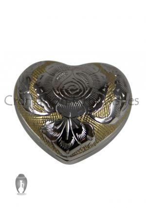 Silver/Gold Heart Keepsake Mini Container for Cremation Ashes