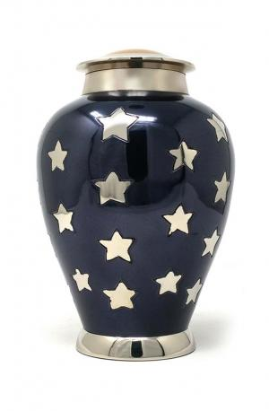 Silver Star Medium  Container Urn for Funeral Ashes