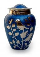 Silver blessing birds large adult ashes cremation urn in blue