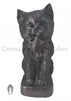 Sitting Cat Brown Color Aluminium Pet Cremation Urn