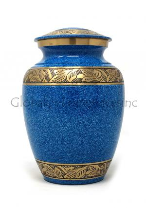 Sky Blue Engraved Band Brass Medium Urn for Funeral Human Ashes.