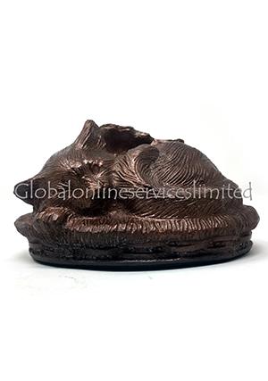 Sleeping Cat Brown Colour Aluminium Pet Cremation Urn