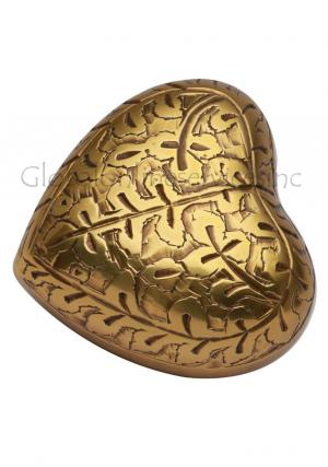 Small Banbury Brass Engraved Heart Keepsake Urn, Human Memorial Urns Ashes UK