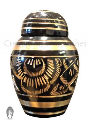 Small Black Polished Classic Brass Keepsake Urn