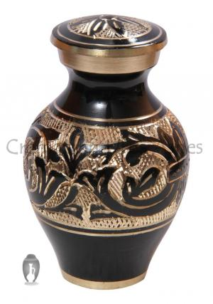Small Black & Gold Decorative Funeral Keepsake Urn Ashes