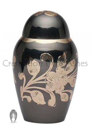 Small Black & Gold Floral Keepsake Urn for Cremation Ashes