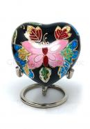 Beautiful Floral Butterfly Small Heart Keepsake Urn for Ashes (Black)