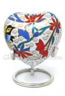 Small Floral Heart Keepsake Memorial Urn for Cremation Ashes (White)