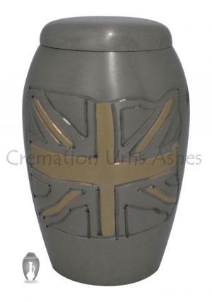 Small UK Flag Engraved Keepsake Adult Cremation Urn for Ashes