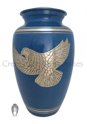 Soaring Eagle Golden Bands Blue Human Adult Cremation Urn