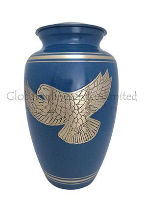 Soaring Eagle Golden Bands Blue Human Adult Cremation Urn
