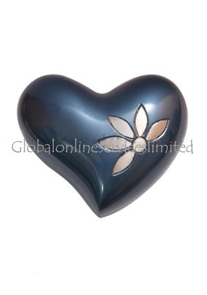 Sparkling Flower Mini Heart Keepsake Funeral Urn