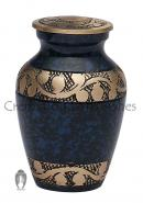 Spilt Blue Band Keepsake Urn Circled Golden Leaves for Cremation Ashes