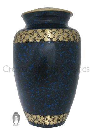Split Blue Band Engraved Adult Cremation Urn For Ashes