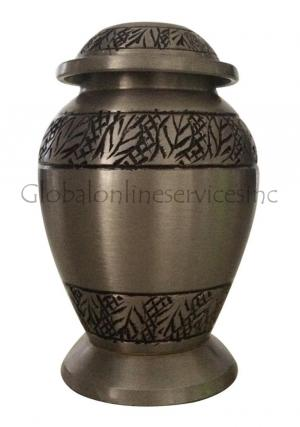 Tiny Classic Pewter Leaves Cremation Keepsake Urn For Ashes UK