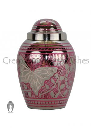 Tiny Portland Pink Butterfly Engraved Keepsake Funeral Urn