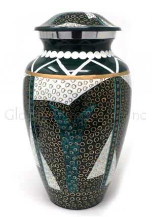 Tribel Pattern Aluminium Large Cremation Urn for Ashes.