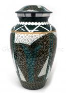 Large Tribal Pattern Aluminium Urns for Cremation Ashes.