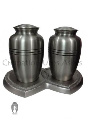 Triple Band Pewter Companion Adult Urns for Ashes