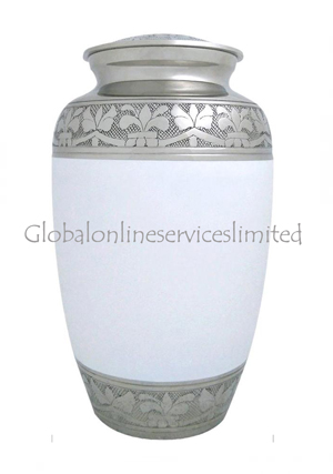 White & Silver Floral Band Nickel Adult Funeral Cremation Urn