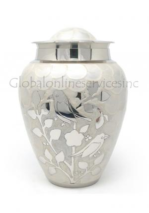White blessing birds large adult ashes cremation urn
