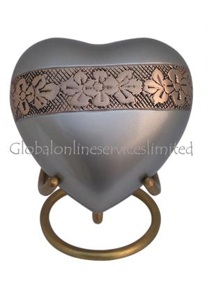 Wildflowers Design Heart Keepsake Urn for Memorial Ashes